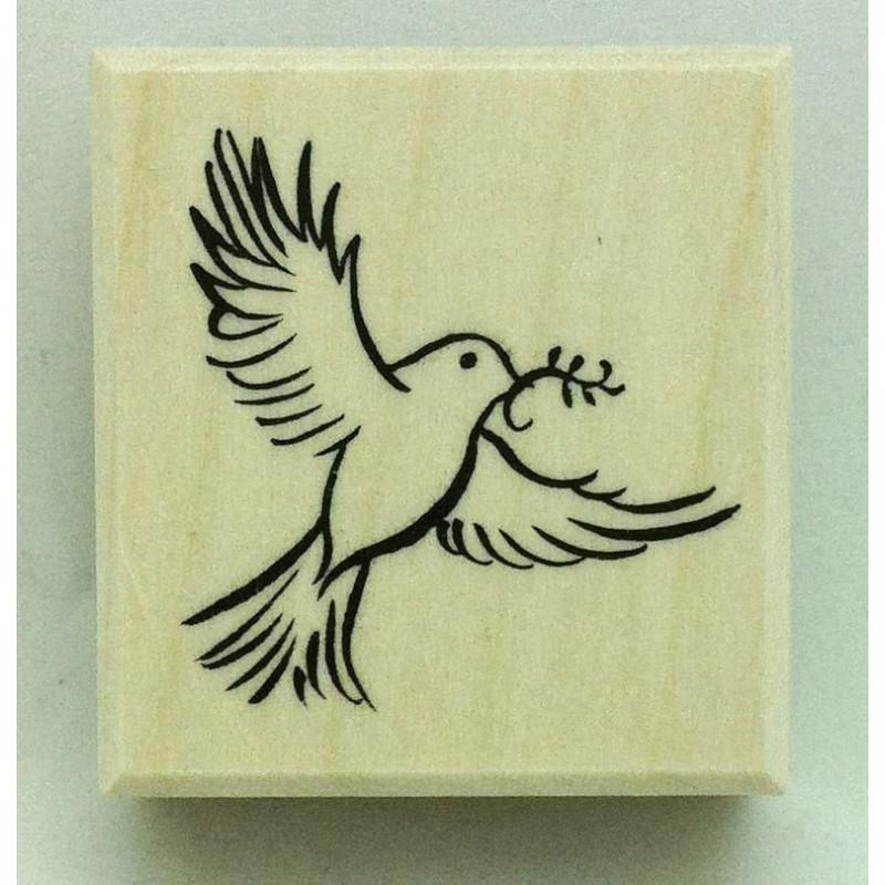 Sello de Madera Paloma de la paz