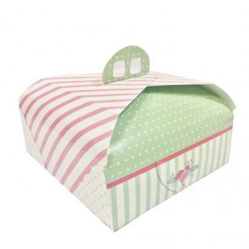 Caja rectangular de tarta con asas de 38 x 30 cm Verde y Rosa Ágata
