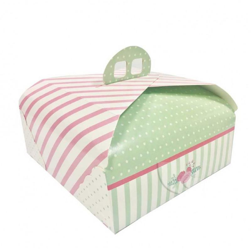 Caja de tarta con asas de 28 cm Verde y Rosa Ágata