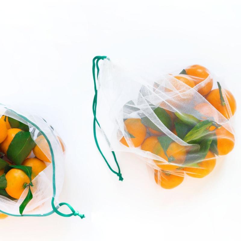 Set de 4 Bolsas de malla para fruta y verduras reutilizables