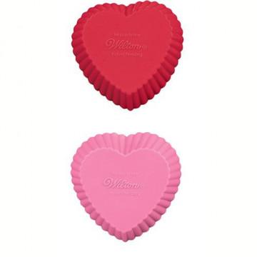 Molde Mini Cupcakes silicona Corazón Rojo y Rosa Wilton
