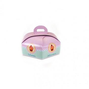 Caja para tarta Hexagonal para base de 28 cm Delicious