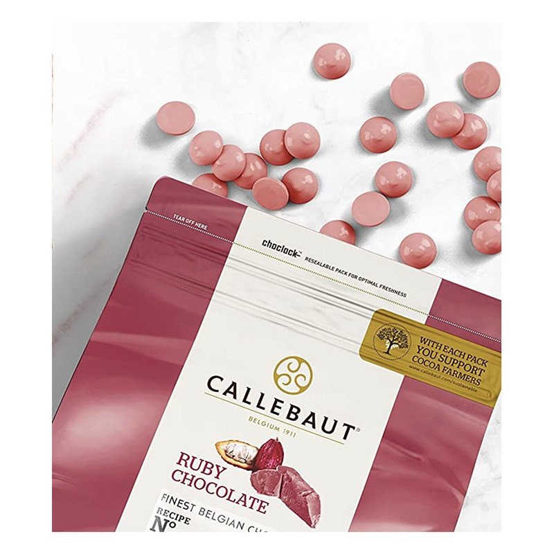 Chocolate RUBY en grageas 1kg A GRANEL Callebaut