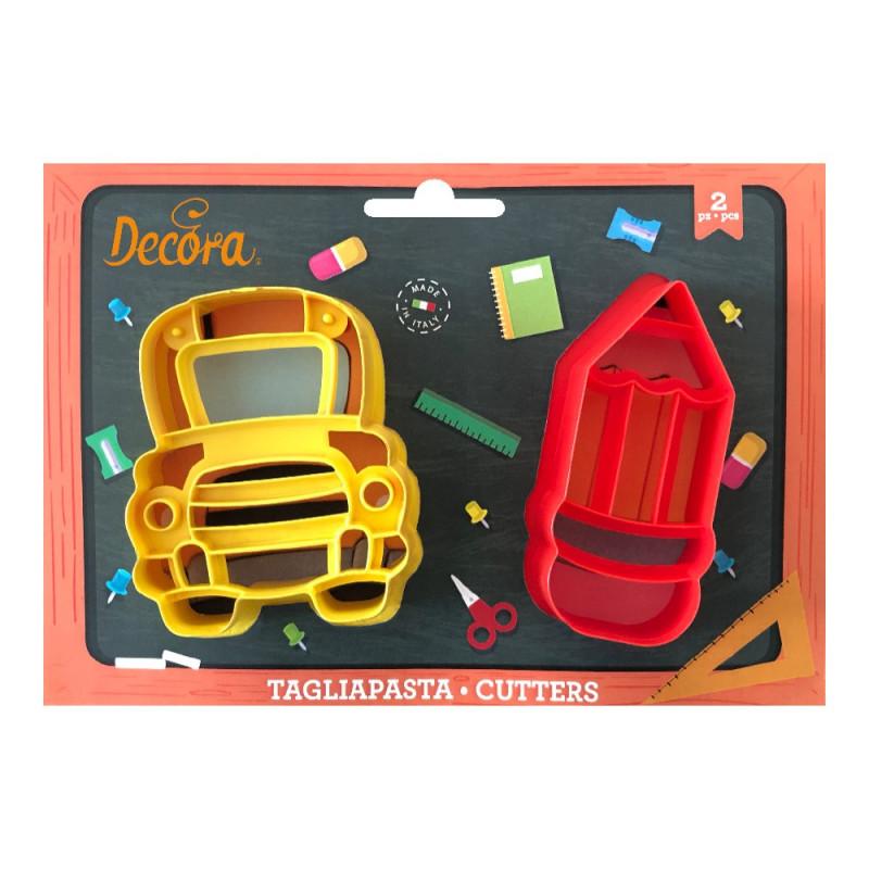 Pack 2 cortantes: Autobús y Lápiz Decora Italia