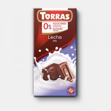 Chocolate con leche 0% azúcar 75g TORRAS
