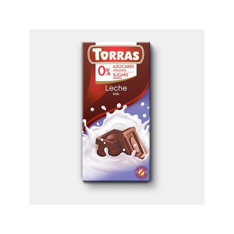 Chocolate con leche 0% azúcar 150g TORRAS
