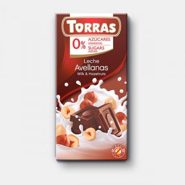 Chocolate con leche y avellanas 0% azúcar 75g TORRAS