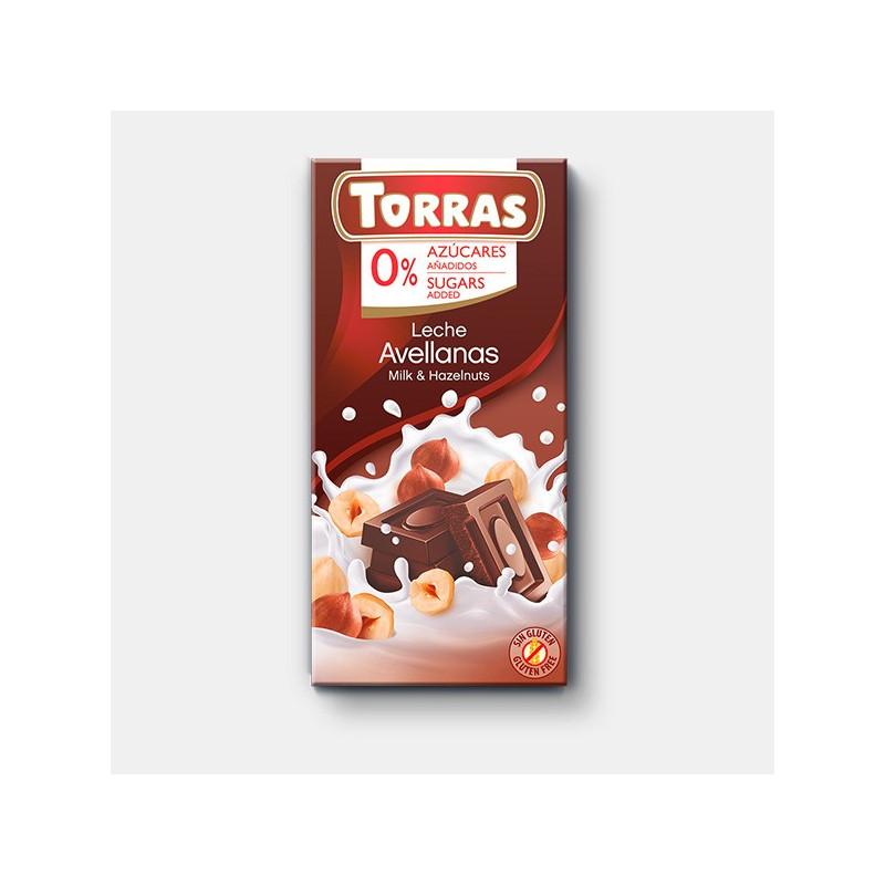 Chocolate con leche y avellanas 0% azúcar 150g TORRAS