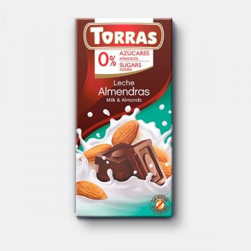 Chocolate con leche y almendras 0% azúcar 150g TORRAS
