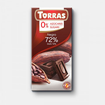 Chocolate Negro 72% 0% azúcar 150g TORRAS