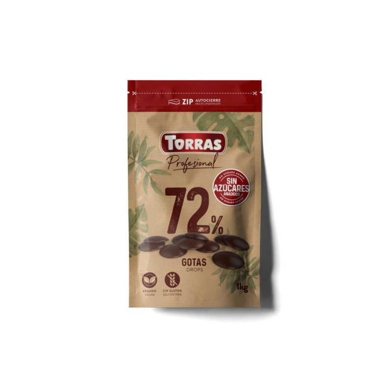 Chocolate negro 72% 0% azúcar en grageas 1kg TORRAS
