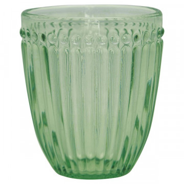 Vaso de cristal labrado Verde Alice Pale Green Green Gate