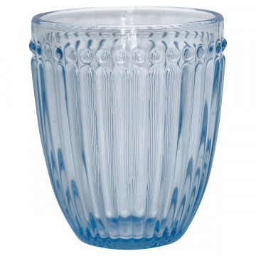 Vaso de cristal labrado Alice Pale Blue Green Gate