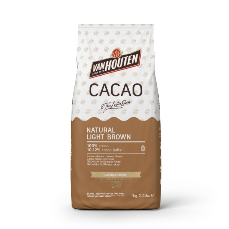 Cacao en polvo 100% NATURAL LIGHT BROWN 1kg Callebaut