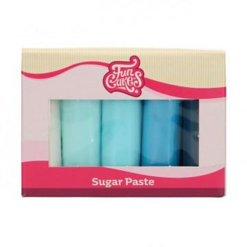 Pack 5 Fondant Tonos Azules 5x100g Funcakes