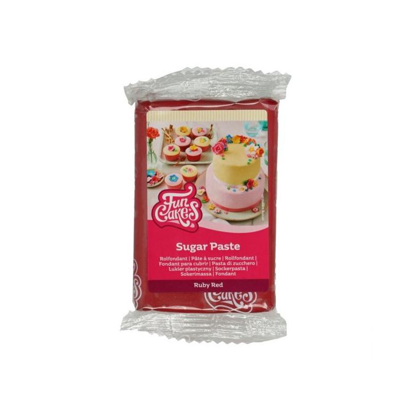 Fondant Rojo Rubí 250 g Funcakes