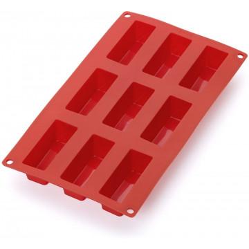Molde mini rectangular 9 cavidades Rojo silicona Lékué