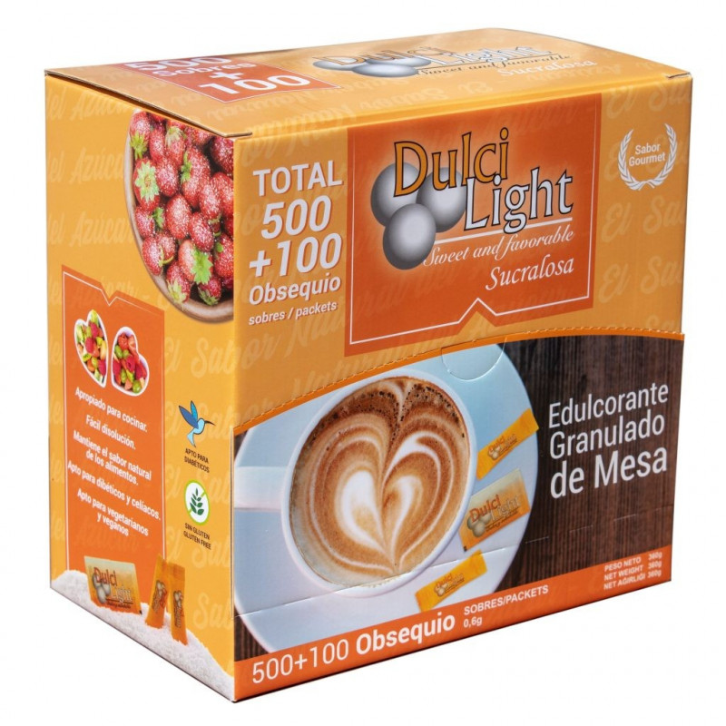 Pack 500 sobres + 100 GRATIS Sucralosa Ecológica 100% Natural DulciLight