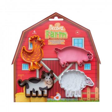 Pack de 4 cortantes galleta Granja Animales Decora Italia
