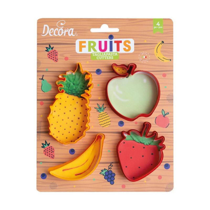Pack de 4 cortantes galleta Frutas Decora Italia