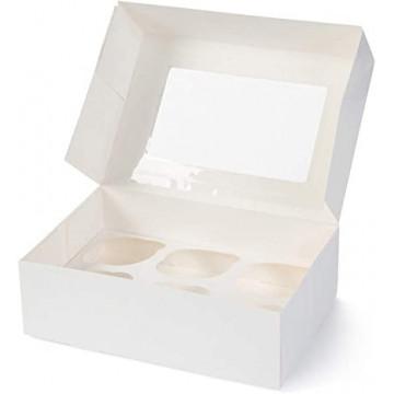 Caja para 6 cupcakes blanca con ventana EXTRA ALTA