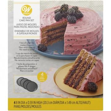 Pack 4 moldes redondos Layer Cake Wilton -20 cm