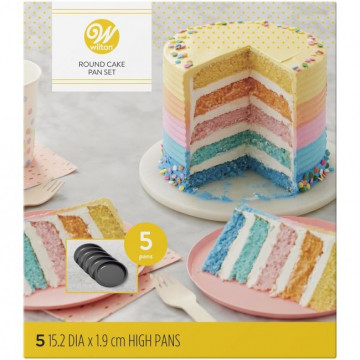 Pack 5 moldes redondos Layer Cake Wilton