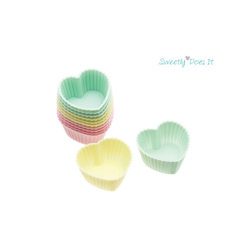 Molde Cupcakes silicona corazón pack 12 mini cupcake Sweetly does it