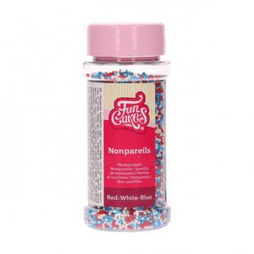Sprinkles Mini Perlitas Rojo Blanco y Azul 80 g Funcakes