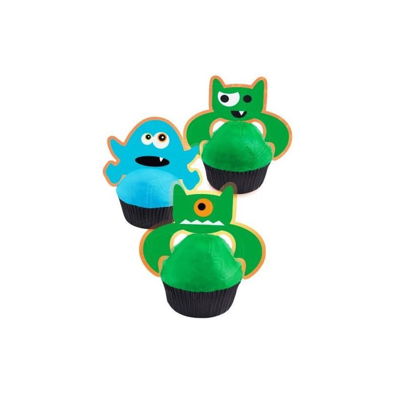 Pack de 12 toppers cupcakes Monstruos Halloween Wilton
