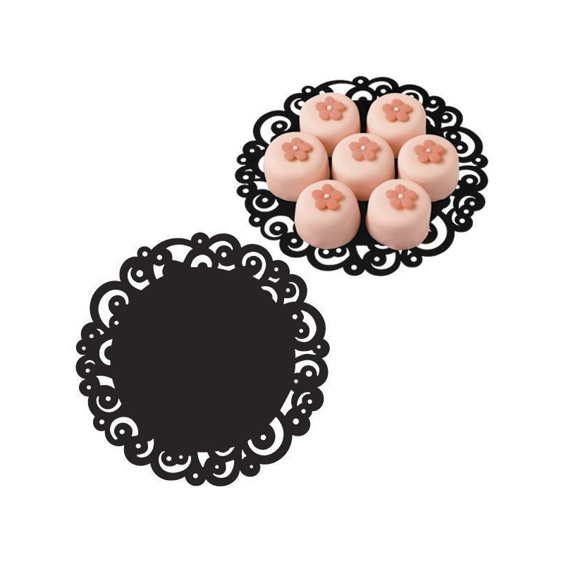 Tapetes 20 cm Swirl Doiles Black Wilton