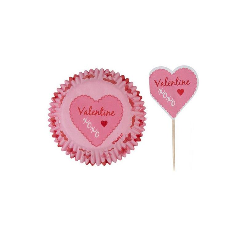 Set para cupcakes: Pink Damask Valentine Wilton