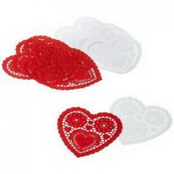Pack 12 Tapetes Corazón Rojo y Blanco Wilton