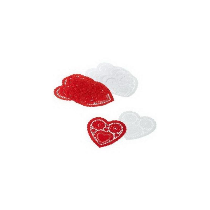 Tapetes 10 cm Doilies Corazón Rojo y Blanco Wilton