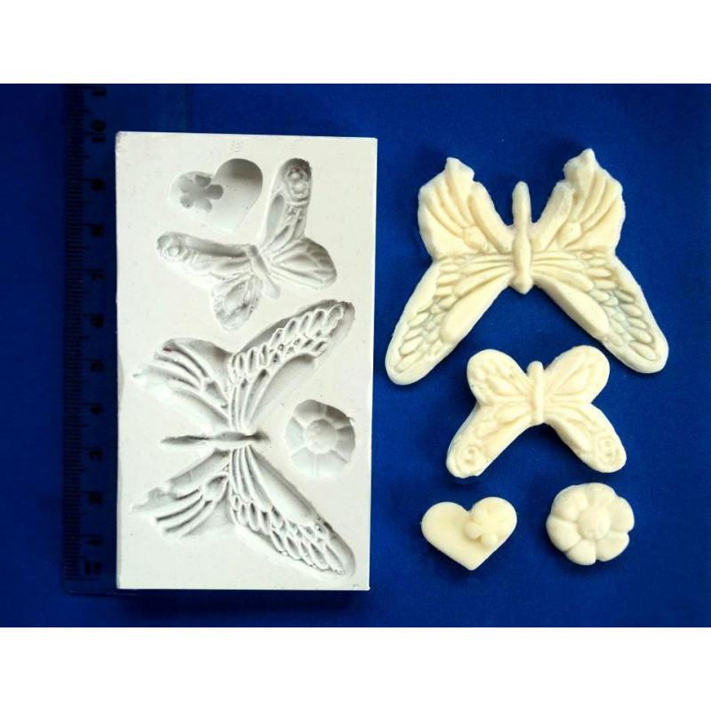 Molde silicona Mariposas, Flor y Corazón