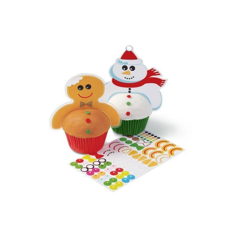Pack de 12 toppers Gingerbread y Muñeco de Nieve Navidad Wilton