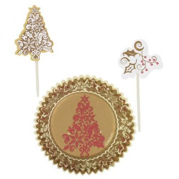 Set para cupcakes: Dorada Navidad Wilton