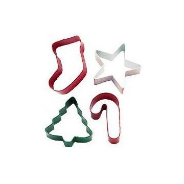 Cortantes, pack 4 cortantes: árbol, calcetín, bastón y estrella Wilton