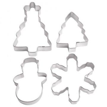 Cortantes, pack 4 cortantes: árbol, árbol con estrella, muñeco nieve y copo de nieve Wilton