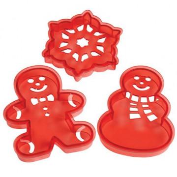 Cortador + Stencils pack 3: copo de nieve, gingerbread y muñeco de nieve Navidad Wilton