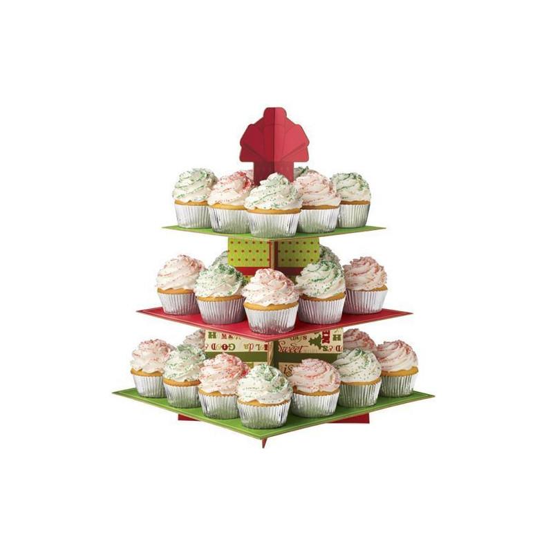 Stand de presentación cupcakes Homemade for the Holidays Navidad  Wilton