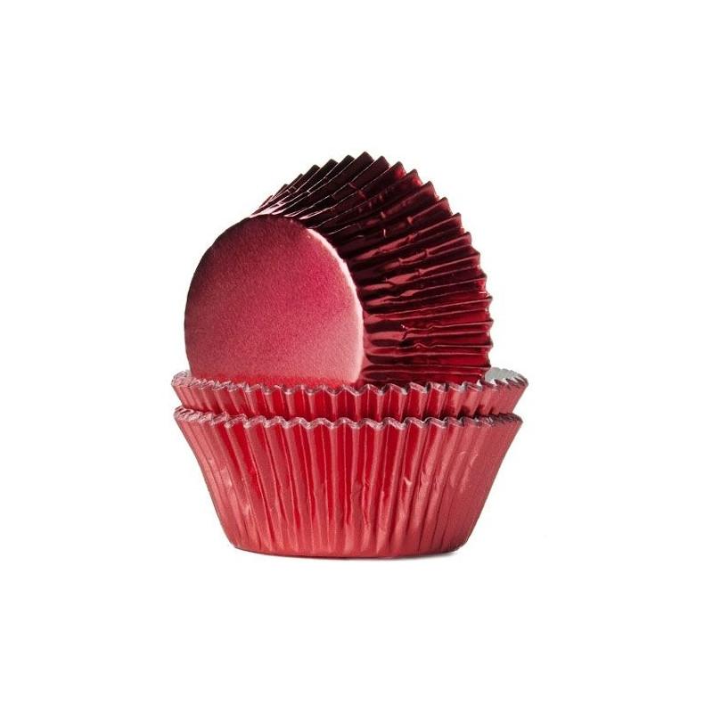 Capsulas cupcakes Rojas Metalizadas HoM