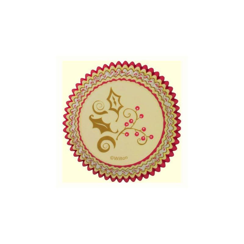 Cápsulas cupcakes Hoja de ácebo dorada Wilton