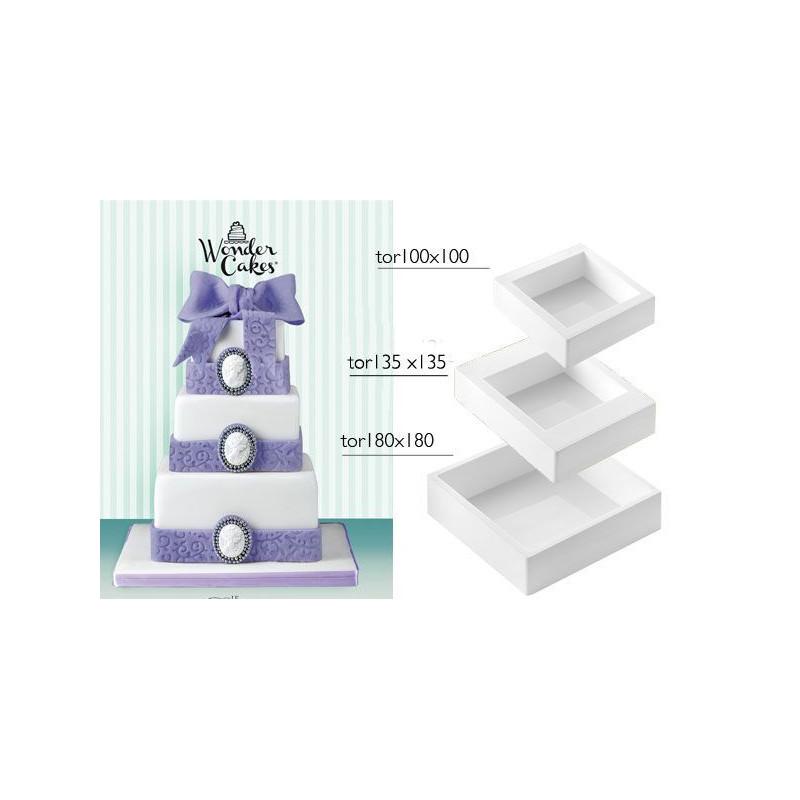 Pack 3 moldes silicona cuadrado My Wonder Cake SLK