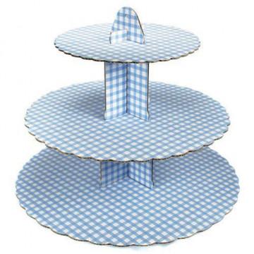 Stand de presentación cupcakes cuadritos blanco-azul.