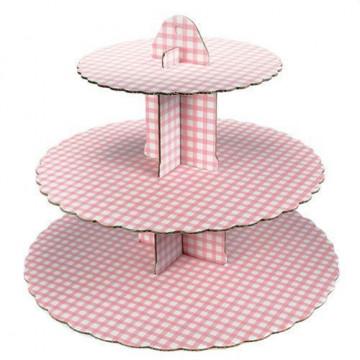 Stand de presentación cupcakes cuadritos blanco-rosa.