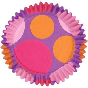 Capsulas cupcakes antigrasa Lunares rosa-fuxia-naranja Wilton