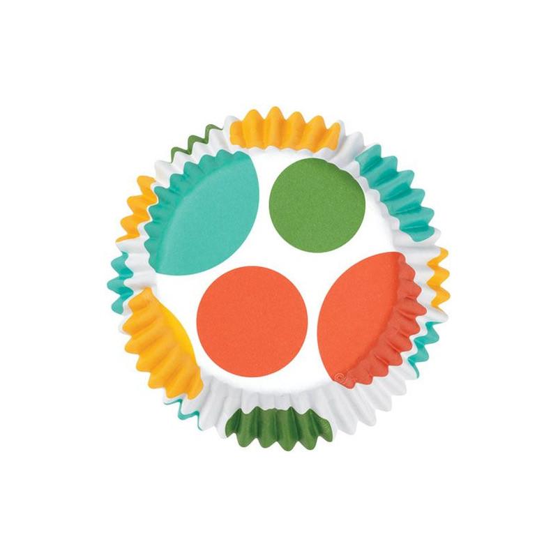 Capsulas cupcakes antigrasa Lunares turquesa-verde-naranja Wilton