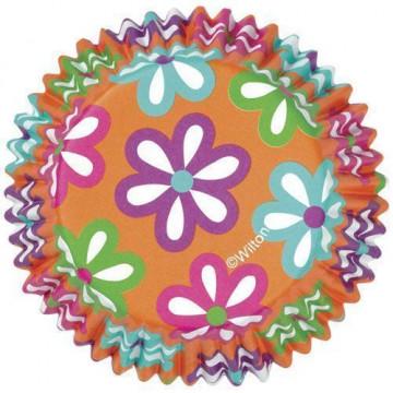 Capsulas cupcakes antigrasa Naranjas con flores de colores Wilton