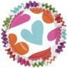 Capsulas cupcakes antigrasa Blancas con corazones de colores Wilton